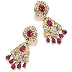 Pair of ruby and diamond pendant-earclips, Van Cleef Arpels, New York,... ❤ liked on Polyvore featuring jewelry, earrings, ruby diamond pendant, diamond earring jewelry, earrings jewelry, van cleef arpels earrings and ruby pendant