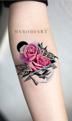 Unique watercolor pink rose forearm tattoo ideas - traditional geometric mandala triangle arm tat for women Delicate Flower Tattoo, Small Flower Tattoos, Flower Tattoo Designs, Tattoo Designs For Women, Small Tattoos, Tattoos For Women, Tattoo Flowers, Mandala Tattoo Design, Dotwork Tattoo Mandala