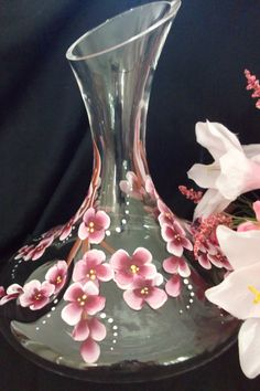Cherry Blossom Wine Decanter by SusanRuthCreations on Etsy
