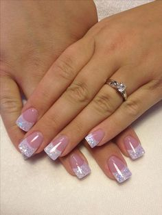 In search for some nail styles and ideas for your nails? Here's our list of must-try coffin acrylic nails for stylish women. Nails Yellow, White Tip Nails, Pink Nails, Glitter Nails, Nails With Glitter Tips, Acrylic White Tips, Silver Tip Nails, White French Nails, French Nail Art