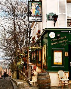 La Bonne Franquette - French Art Parisian Bistro Decor Cafe Montmartre Print Green Autumn Colors by Honour Rosser  on pinterest.com