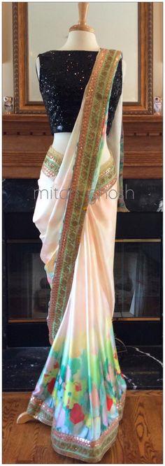 Digital Printed Satin Saree with Sequins Border. Simple Sarees, Trendy Sarees, Stylish Sarees, Saree Blouse Patterns, Saree Blouse Designs, Dress Patterns, Indian Gowns Dresses, Ball Dresses, Indian Clothes