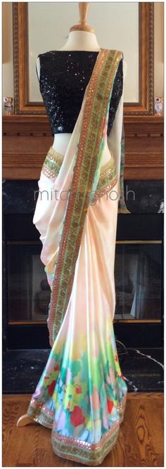 Digital Printed Satin Saree with Sequins Border.