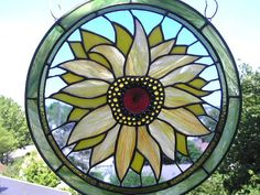 Sunflower Panel Round  Stained Glass by CreativeSpiritGlass, $375.00
