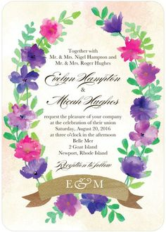 Wedding Paper Divas -- Wreathed in Blossoms - Signature White Wedding Invitations - Coloring Cricket - Raspberry - Pink : Front