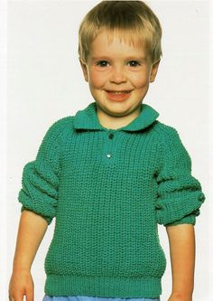 Childs Ribbed Polo Shirt Sweater Childrens Knitting Pattern PDF Download…