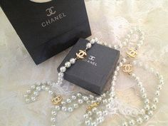 LAstylez — Designer Gold CC Chanel Inspired Long White Pearl Necklace  From lastylez.bigcartel.com