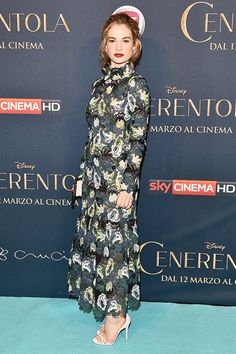 Lily James wearing Erdem at the Cinderella premiere in Milan