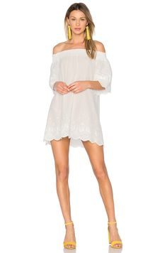 MINKPINK Athena Broderie Anglais Off Shoulder Dress in Cream | REVOLVE