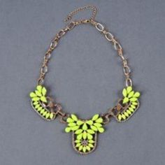 Florescent Yellow Cluster Necklace