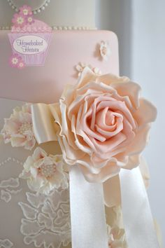 """Ivory and blush pink wedding cake decorated with blush roses, scabious, waxflowers and royal icing lace brush embroidery inspired by Naomi Neoh """"Dita"""" wedding gown - Rudding Park Hotel, Follifoot, Harrogate, North Yorkshire."""