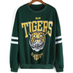 SheIn(sheinside) Green Round Neck Tiger Print Loose Sweatshirt ($17) ❤ liked on Polyvore featuring tops, hoodies, sweatshirts, sweaters, sheinside, green, cotton sweatshirt, sweater pullover, long sleeve tops and tiger print sweatshirt