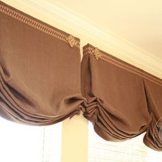 Very nice work from my friend, Brenda at Custom Drapery Designs. Love the simplicity of the soft curves.and the distinctive design elements of the top trim! Valance Window Treatments, Custom Window Treatments, Window Coverings, Balloon Valance, Balloon Shades, Relaxed Roman Shade, Drapery Designs, Mediterranean Home Decor, Curtains With Blinds