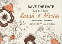 Vintage, floral save-the-date wedding invitations.