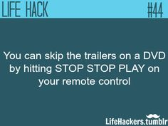 """How to skip trailers on a DVD More life hacks at """"Life hackers"""""""
