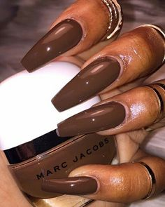 Me for promos brown nails, brown acrylic nails, brown nail polish, korn, . Brown Acrylic Nails, Brown Nail Art, Brown Nails, Cute Acrylic Nails, Dope Nails, Nails On Fleek, My Nails, Matte Nails, Oval Nails