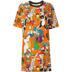 Moschino Looney Tunes print T-shirt dress (4.420 ARS) ❤ liked on Polyvore featuring dresses, moschino, orange, shirts, oversized t shirt dress, oversized tee dress, cotton tee shirt dresses, orange print dress and short sleeve cotton dress