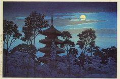 川瀬巴水「池上本門寺之塔」満月に掛かる雲と五重塔