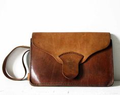 Lovely little Vintage French BROWN Real LEATHER by RueDesLouves