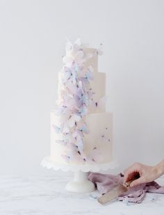 Make an elegant, airy wedding cake with gorgeous edible butterflies.