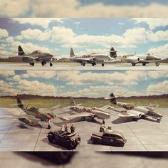 German Messerschmitt Me 262 British Gloster Meteor and American Lockheed P-80 Shooting Star 1/48 diorama. Modeler Bjørn Jacobsen #scalemodel #fighters #plastimodelismo #miniatura #miniatur #miniature #maqueta #maquette #modelismo #plastickits #usinadoskits #udk #hobby
