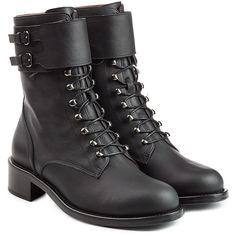 Philosophy di Lorenzo Serafini Leather Biker Boots ($509) ❤ liked on Polyvore featuring shoes, boots, black, motorcycle boots, block heel boots, leather lace up boots, black biker boots and leather boots