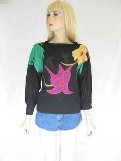 Vintage 80s Applique Boho Sweater by TimeBombVintage on Etsy