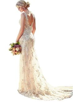 Listed Price: $149.99 Fabric:Lace+Tulle+Satin Silhouette:Mermaid Sleeve:Sleeveless Waist Type:Regular Waistline Back Details:V-back Embellishment:Lace Perfect for Occasion:Church Wedding,Beach Wedding,Special Occasion Kin…Read more…