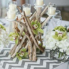 Our driftwood candelabras at a beautiful Cape Cod wedding!  www.driftingconcepts.com
