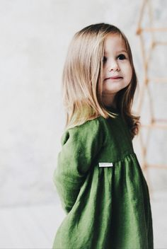 Beautiful Handmade Forest Green Linen Baby Toddler Dress   TinyStoriesClothes on Etsy