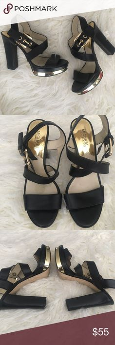 Michael Kors Calder Platform Heel Sandals Black Authentic Michael KORS Platform Heel. Black and Gold. Like new with no signs of wear except the sole. MICHAEL Michael Kors Shoes Platforms