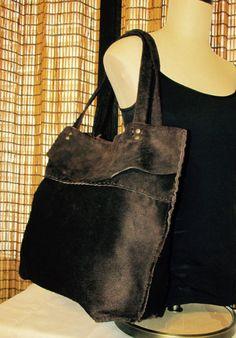 Large Nubuck Leather Dark Brown Tote Bag by ResplendentLeather #leathertote #bohotote #nubucktote