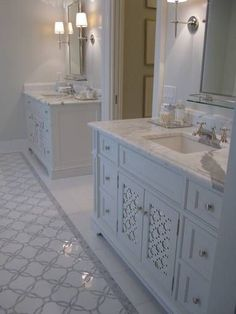 Master bath ideas | Phoebe Howard - Stunning ensuite with marble tiles floor with marble mosaic inset tiles, ... - Decor It Darling