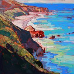 Original oil painting of the California coastline north of Big Sur. This painting was done by Los Angeles artist Erin Hanson.