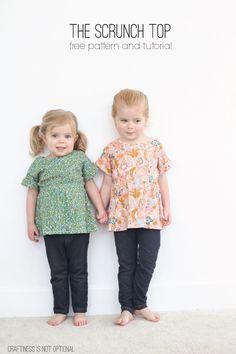 """scrunch top"" tutorial and free pattern for birch fabrics (via Bloglovin.com )"