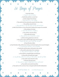 31 Days of Prayer - from toshowthemJesus.com