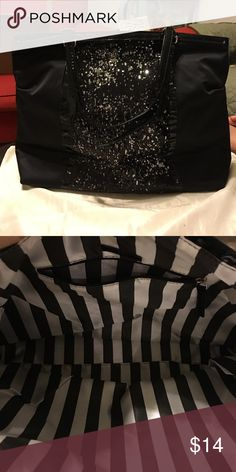 DSW tote Large DSW sequin front tote with snap closure. Solid back. Shiny patent handles. DSW Bags Totes