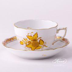 Tea Cup – Apponyi Yellow - Herend Fine china 701-0-00 AJ - Yellow Volume: 3.0 dL