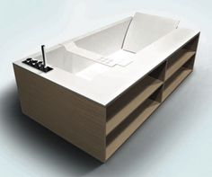 A bathtubs with built-in storage