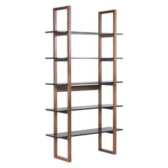 LOKI Walnut and black 5 shelf bookcase