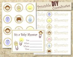DIY Baby Shower cupcake topper invitation water by SBStudioDesign, $35.00