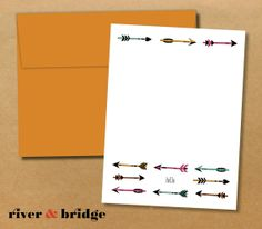 arrows with colored envelopes // personalized notecards
