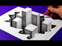 How to Draw Buildings in a Hole - Trick Art Drawing 3d Pencil Art, 3d Pencil Drawings, 3d Art Drawing, Art Drawings Beautiful, Cool Art Drawings, Easy Drawings, Illusion Drawings, 3d Illusion Art, 3d Chalk Art