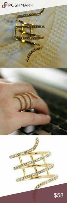 Snake ring in gold size 6 Quadruple wrap around style  Reinforced with three crossbars in back to maintain shape  Pave studded finish  14k Gold plated with pave crystals  NWOT  Never worn except to model Ella Jewelry Rings