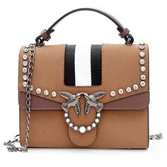 Striped Birds Embellished Rhinestone Crossbody Bag ($24) ❤ liked on Polyvore featuring bags, handbags, shoulder bags, rosegal, rhinestone handbags, stripe handbag, embellished purse, rhinestone studded handbags and stripe purse