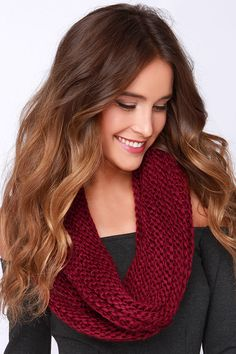 You're So Twisted Burgundy Knit Infinity Scarf