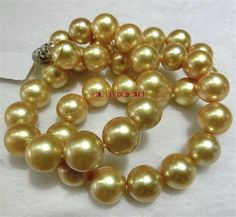 """Collectibles Top 17""""14-17mm south sea champagne Yellow golden pearl necklace 14K #StrandString"""