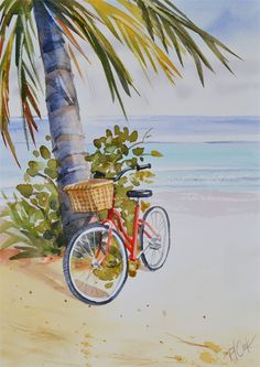 watercolor paintings landscape red bicycle at the beach watercolor painting Watercolor Scenery, Watercolor Paintings For Beginners, Beach Watercolor, Watercolor Landscape Paintings, Watercolor Landscape Tutorial, Watercolour, Watercolor Lesson, Simple Watercolor, Watercolor Pictures