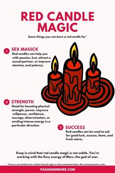 The Red Candle's Meaning, Symbolism, and Magical Uses Witchcraft Spell Books, Wiccan Spell Book, Magick Spells, Candle Spells, Real Spells, Hoodoo Spells, Luck Spells, Moon Spells, Magick Book