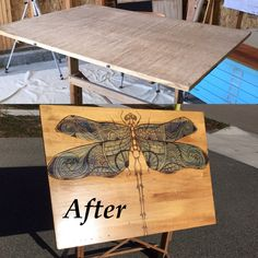 Decorative stain art with gradual shading.  Vintage drafting table with Bohemian dragonfly.  The wings have turquoise glow in the dark stain.  Follow Custom Kate on Instagram #customkatepaints, Facebook, or https://youtu.be/_gTISqnAZ2I
